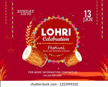 Illustration Of Punjabi festival lohri celebration invitation template design,easy to edit.