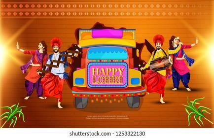 illustration of Punjabi festival lohri celebration bonfire background with decorated tack ,drum