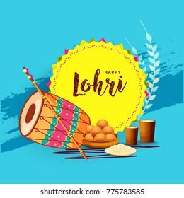Illustration of Punjabi festival lohri celebration background with decorated drum.Easy to edit.