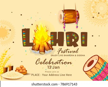 Illustration Of Punjabi festival lohri celebration invitation template design,easy to edit.