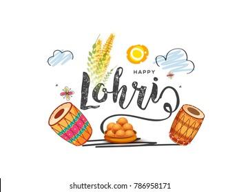 Illustration of punjabi festival lohri greeting card background.