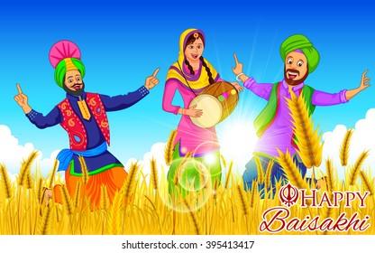 Punjabi culture images stock photos vectors shutterstock illustration of punjabi new year happy baisakhi background malvernweather Images