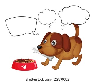 Illustration of a puppy eating his food on a white background