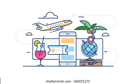 Illustration of purchase of ticket on holiday to the sea with surf and a cocktail, a palm tree and a suitcase with clothes in flat style on white background with outline
