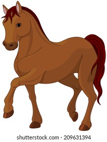 Illustration of purebred chestnut horse