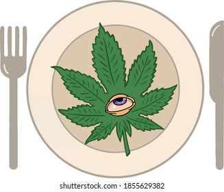 illustration of purple eyed weed leaf on plate with fork and knife in vector
