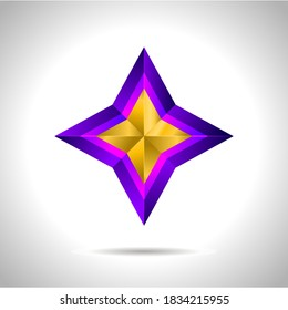 illustration of a purple gold star on steel background. vector file New year Christmas