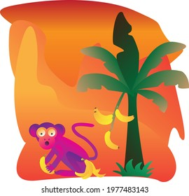Illustration of a purple monkey stealing a banana. This illustration can be used for wallpapers, backgrounds, web developers, students or freelancers. vector illustration in gradient style.