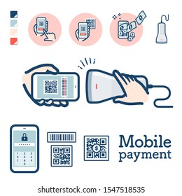 Illustration of QR code payment by smartphone.It's vector art so it's easy to edit.