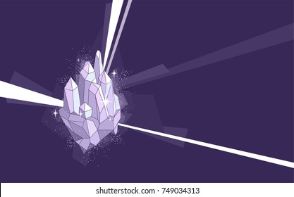 Illustration of a Quartz Crystal Design with Rays. Crystal Healing.