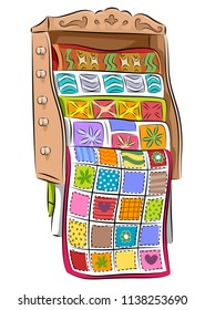 Illustration of a Quilt Rack Full of Quilts with Different Colors and Patterns