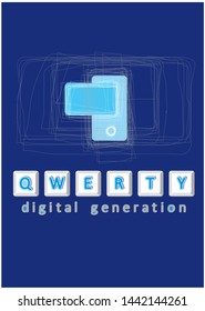 illustration of QWERTY digital generation for T-shirt
