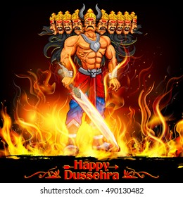 illustration of Raavan Dahan for Dusshera celebration Navratri festival of India poster
