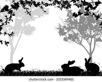 illustration with rabbit silhouettes in grass near spring blossoming tree isolated on white background