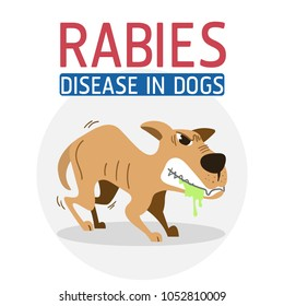 Illustration of Rabies disease in dogs, that makes dogs sick and mad.
