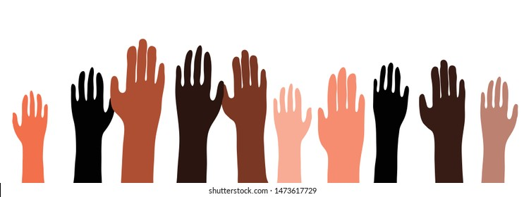 Illustration of a racially diverse group of hands raised