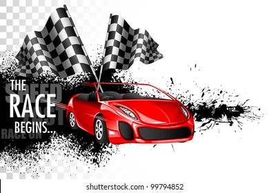 illustration of racing car with checker flag on grungy background