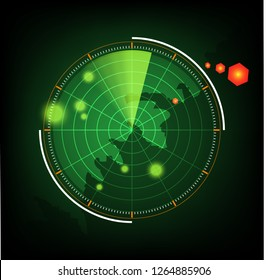 illustration radar scan earth background