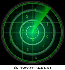 Illustration of a radar screen with three money symbols