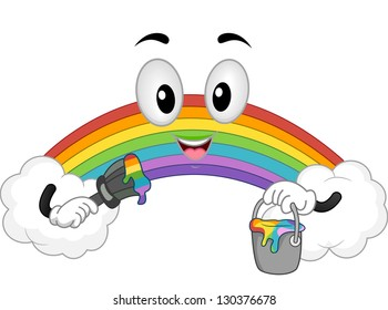 Illustration of a Raibow Mascot with clouds holding a Can of Paint and a Paintbrush