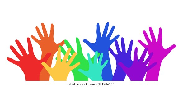Illustration with rainbow children's hands for your creativity