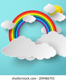 illustration of rainbow with clouds on the  blue sky.paper art style.