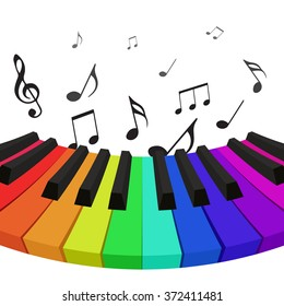 Illustration of rainbow colored piano keys with musical notes. Vector element for your design