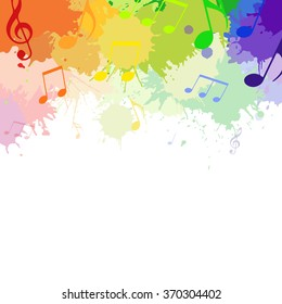 Illustration with rainbow musical notes and watercolor splashes for your design