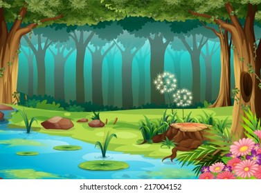 illustration of a rainforest with no animals