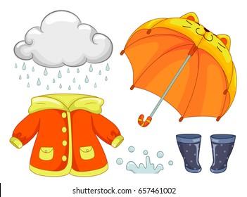 Illustration of Rainy Day Elements like Rain, Cat Umbrella, Raincoat, Water Splash and Boots
