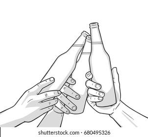 Illustration of raised beer bottles. Cheers