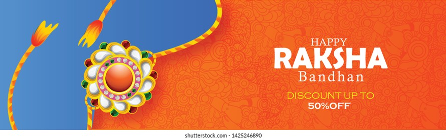 Illustration of rakhi and gift for Raksha Bandhan  Indian festival of sisters and brothers.