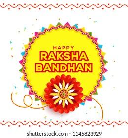 Illustration Of Raksha Bandhan Greeting Card Design.