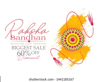 illustration of Raksha Bandhan, Sale and banner poster with Decorative Rakhi for Indian festival of brother and sister