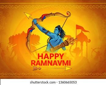 illustration of Ram Navami (Birthday of Lord Rama)  with bow arrow greeting card for Hindu spring festival Navratri