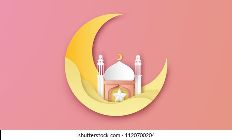 Illustration of Ramadan Kareem design in paper art style. Lovely Ramadan kareem poster. paper cut and craft style. vector, illustration.