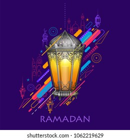 illustration of Ramadan Kareem (Generous Ramadan) greetings for Islam religious festival Eid with illuminated lamp