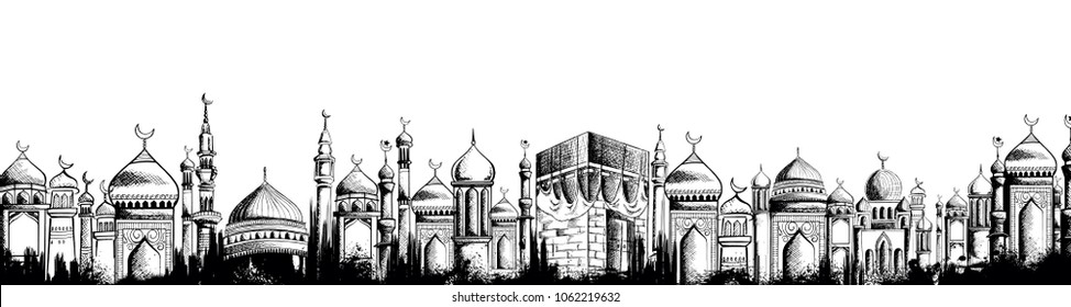 illustration of Ramadan Kareem (Generous Ramadan) greetings for Islam religious festival Eid with freehand sketch Mecca building