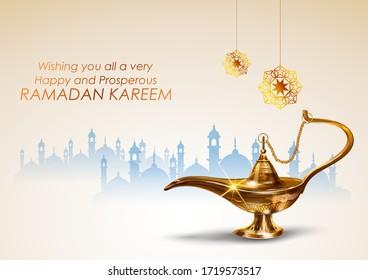 illustration of  Ramadan Kareem (Generous Ramadan) greetings with antique Aladdin lamp for Islam religious festival Eid