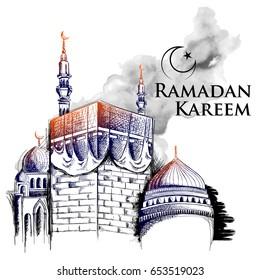 illustration of Ramadan Kareem (Generous Ramadan) greetings for Islam religious festival Eid with freehand sketch Mecca building