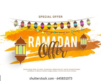 Illustration Of Ramadan Sale Poster Or Sale Banner Background.