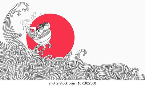 Illustration of ramen with empty space for text,  noodles soup, asian food