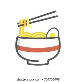 Illustration of ramen noodles isolated in white background