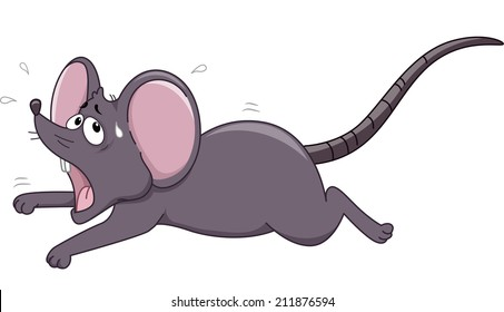 Illustration of a Rat Running Away