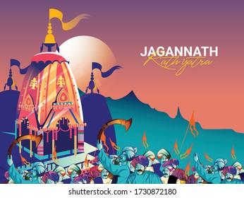illustration of Rathyatra, Lord Jagannath Puri Odisha god Rathyatra Festiva