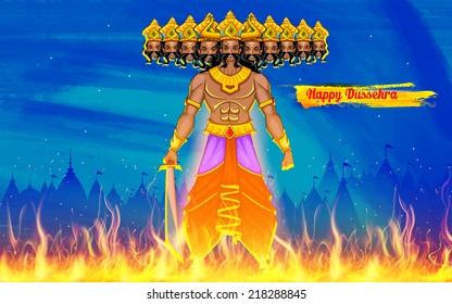 illustration of Ravan Dahan for Dusshera celebration