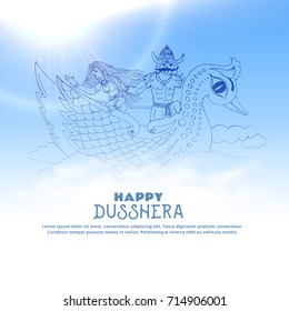 illustration of ravan with sita flying over the clouds, happy dussehra festival