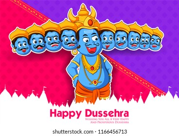 illustration of Ravana with ten heads for Navratri festival of India poster for Dussehra