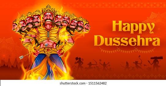 illustration of Ravana with ten heads for Navratri festival of India poster for Dussehra