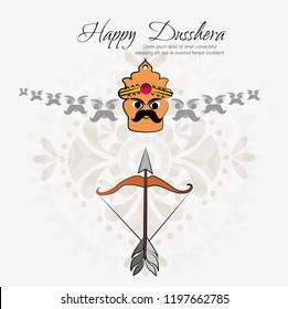 Illustration of Ravana.vector illustration. Indian holiday happy dussehra.Lord Rama with bow arrow killing Ravan with Hindi text Dussehra, Navratri festival of India